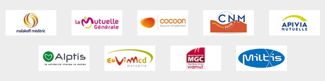 Nos partenaires : La mutuelle générale   Malakoff Médéric   Cocoon   Alptis   Apivia   CNM   Eovid   MGC   Miltis